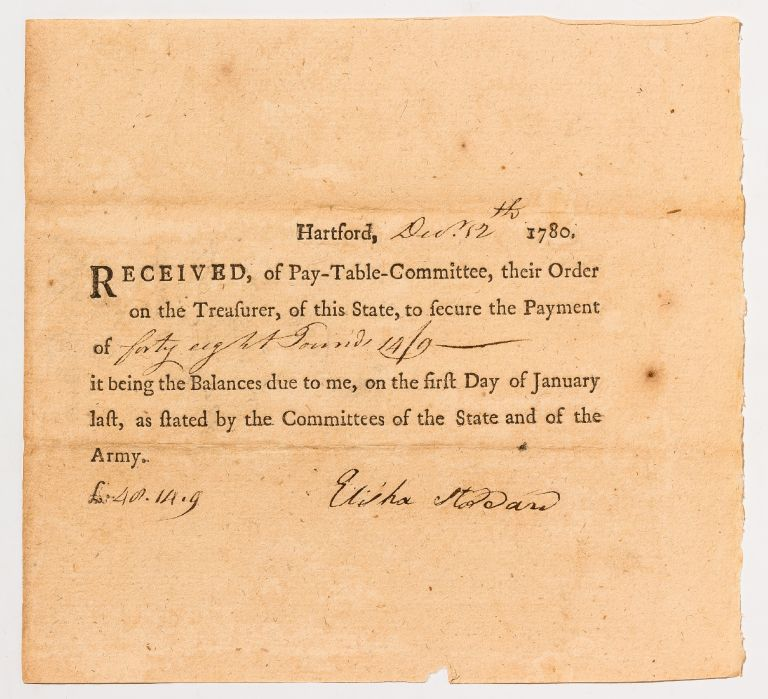 Partially Printed Receipt for Payment to a Connecticut Revolutionary War Soldier. Elisha STODDARD.