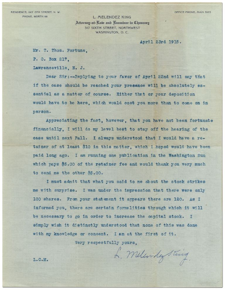 Typed Letter Signed from King to Fortune on a Legal Matter. L. Melendez KING, T. Thomas Fortune.