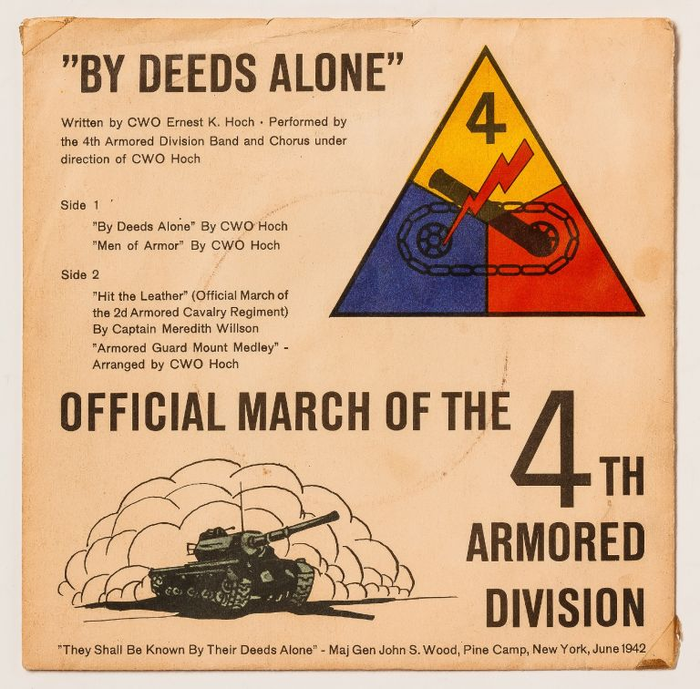 """[Vinyl Record]: """"By Deeds Alone"""" - 4th Armored Division and Pamphlet"""