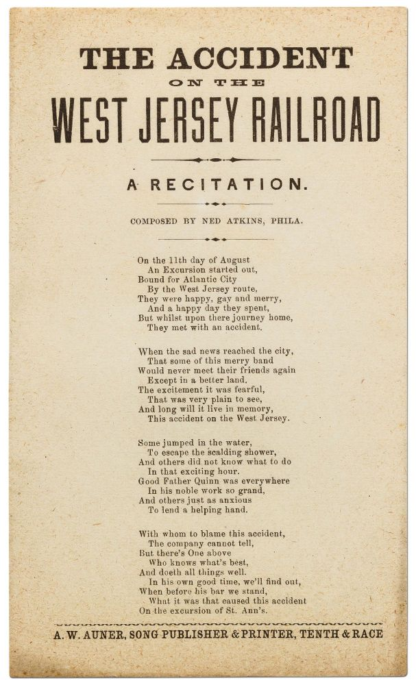 The Accident on the West Jersey Railroad: A Recitation. Ned ATKINS.