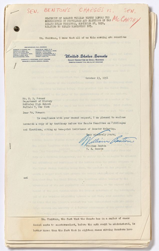 [Archive]: An Archive of Letters, Documents, and Statements Pertaining to Senator Joe McCarthy During the Height of McCarthyism. Senator Joe McCARTHY, M B. Rovner.