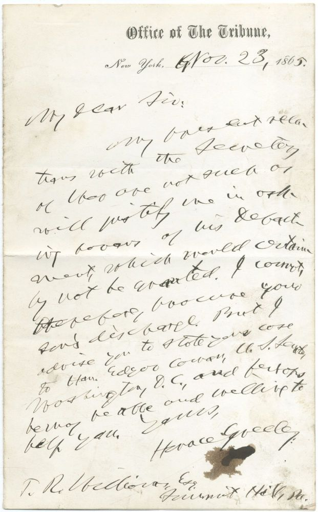 "Autograph Letter Signed (""Horace Greeley"") to T.R. Williams"