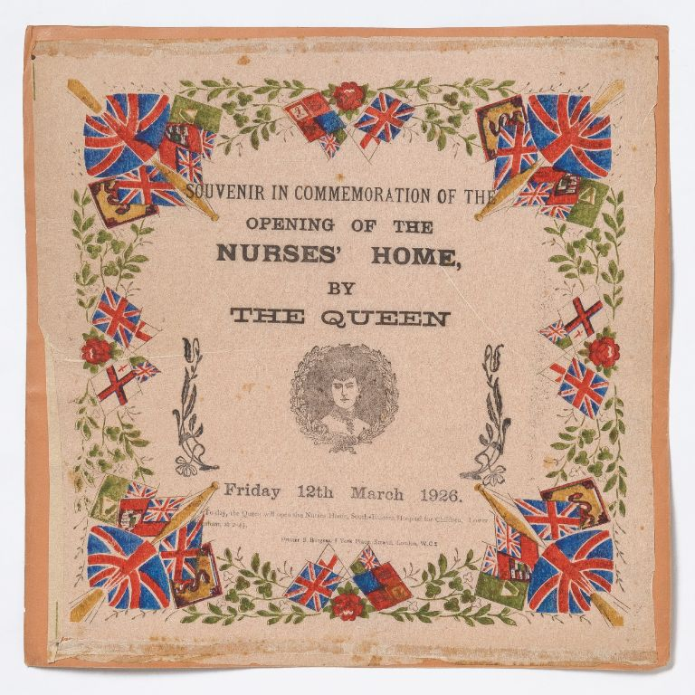 [Broadside napkin]: Souvenir In Commemoration of the Opening of the Nurses' Home, by The Queen. Friday 12th March 1926
