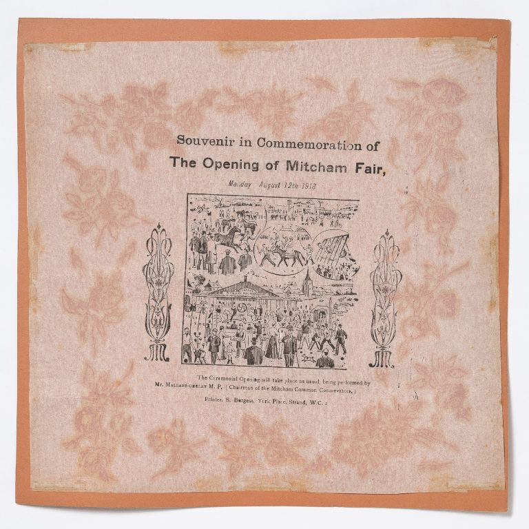 [Broadside napkin]: Souvenir in Commemoration of The Opening of Mitcham Fair, Monday August 12th, 1918