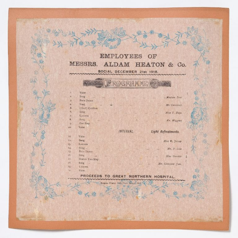 [Broadside napkin]: Employees of Messers. Aldam Heaton & Co.