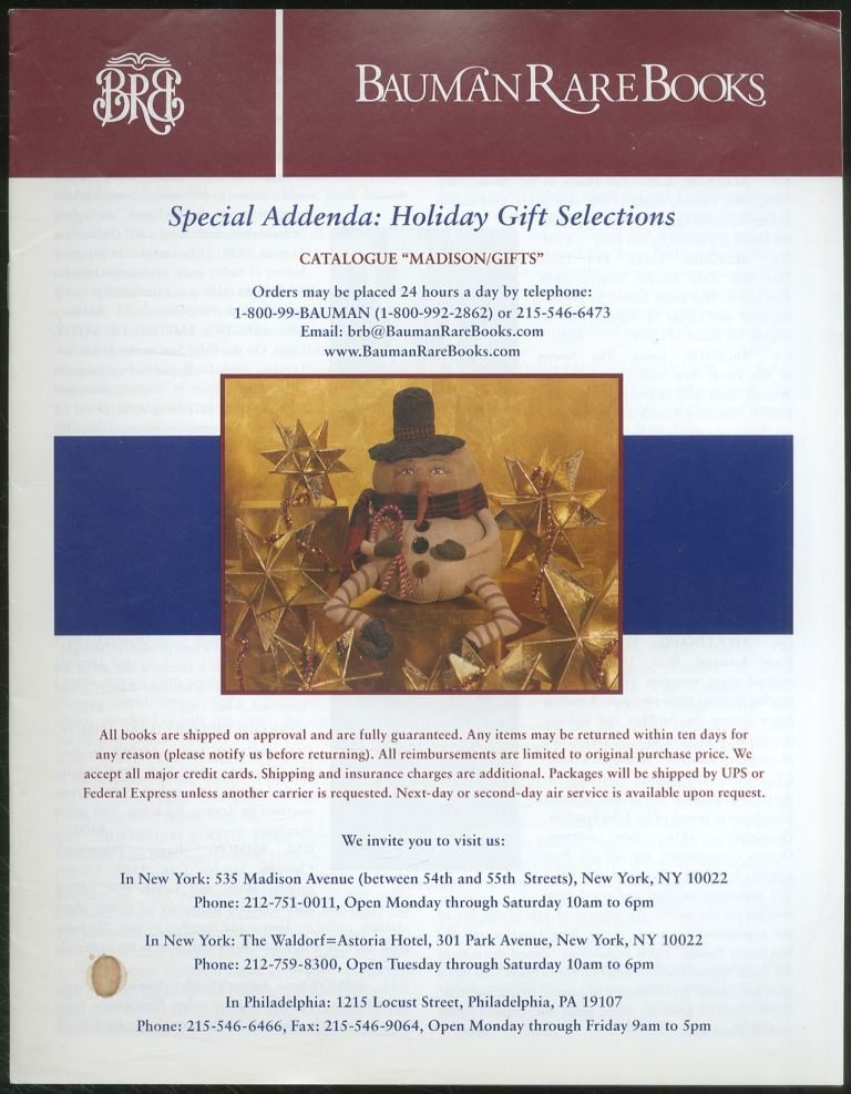 Bauman Rare Books: Special Addenda: Holiday Gift Selections: Catalogue: Madison/Gifts