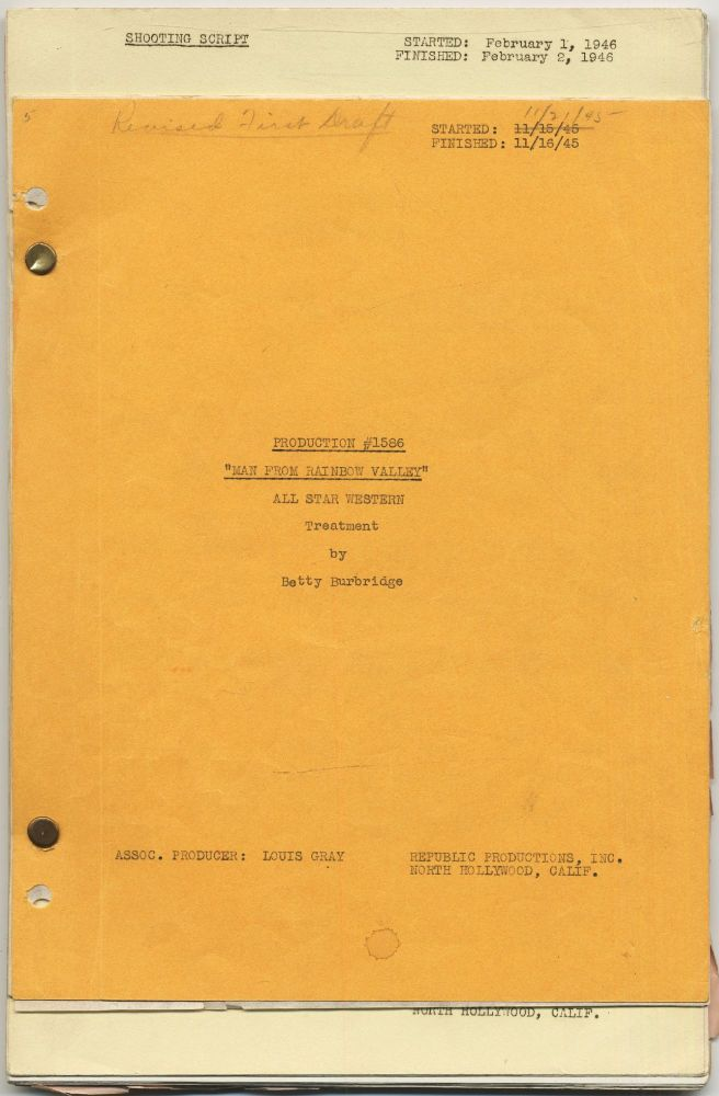 [Treatment and screenplay]: Man from Rainbow Valley. Betty BURBRIDGE.
