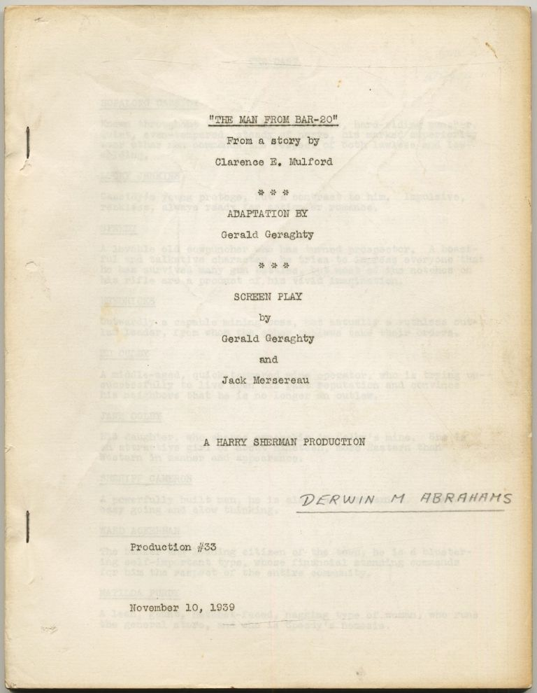 (Screenplay): The Man from Bar-20 [Hidden Gold]. Gerald GERAGHTY, Jack Mersereau, Clarence E. Mulford.