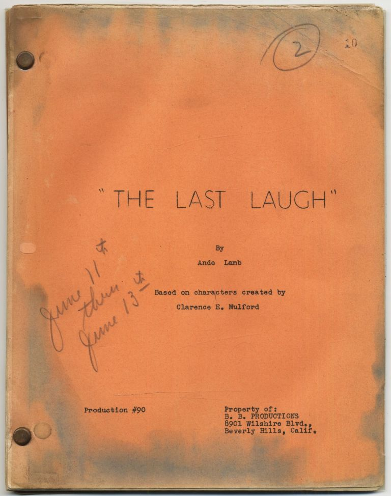 (Teleplay): The Last Laugh. Ande LAMB, Clarence E. Mulford.