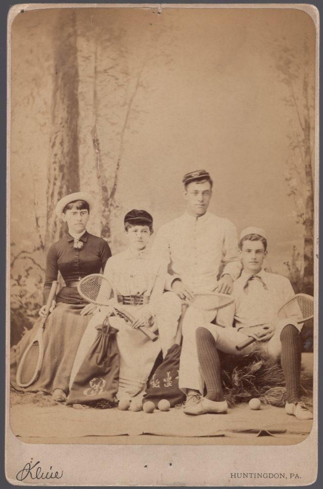 Cabinet Card of Four Players in Tennis Togs