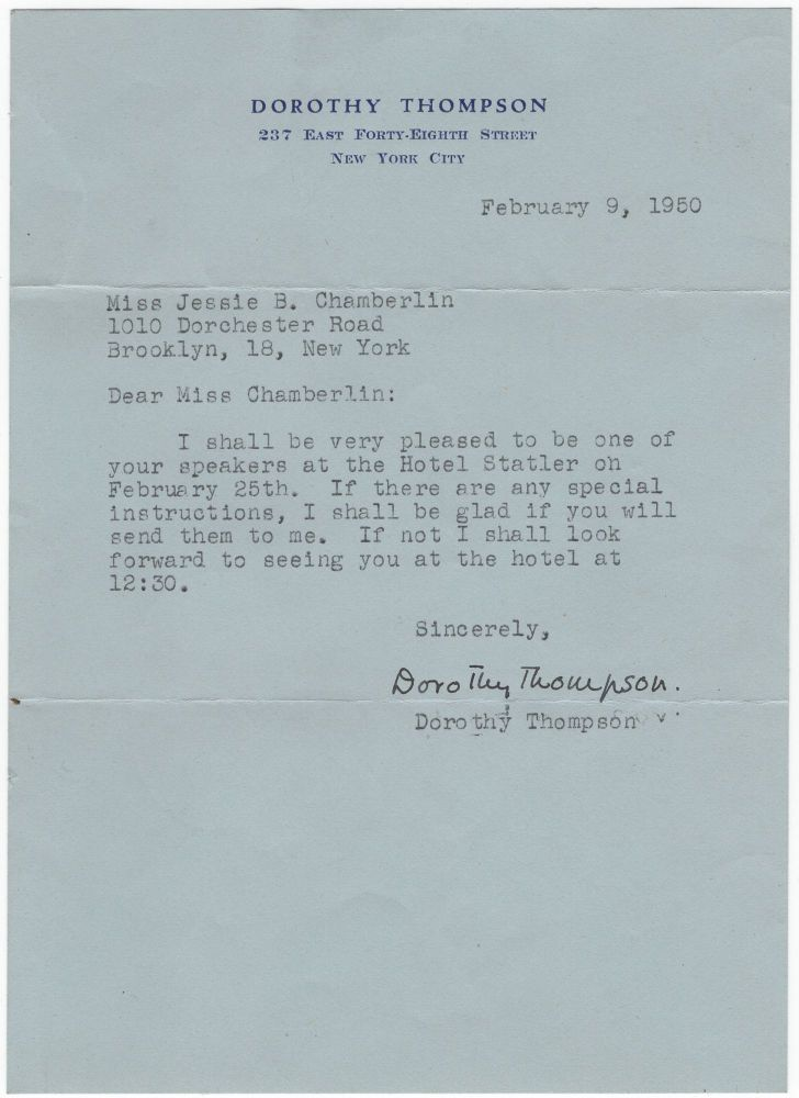 Autograph Letter Signed to Jessie B. Chamberlin. Dorothy THOMPSON.