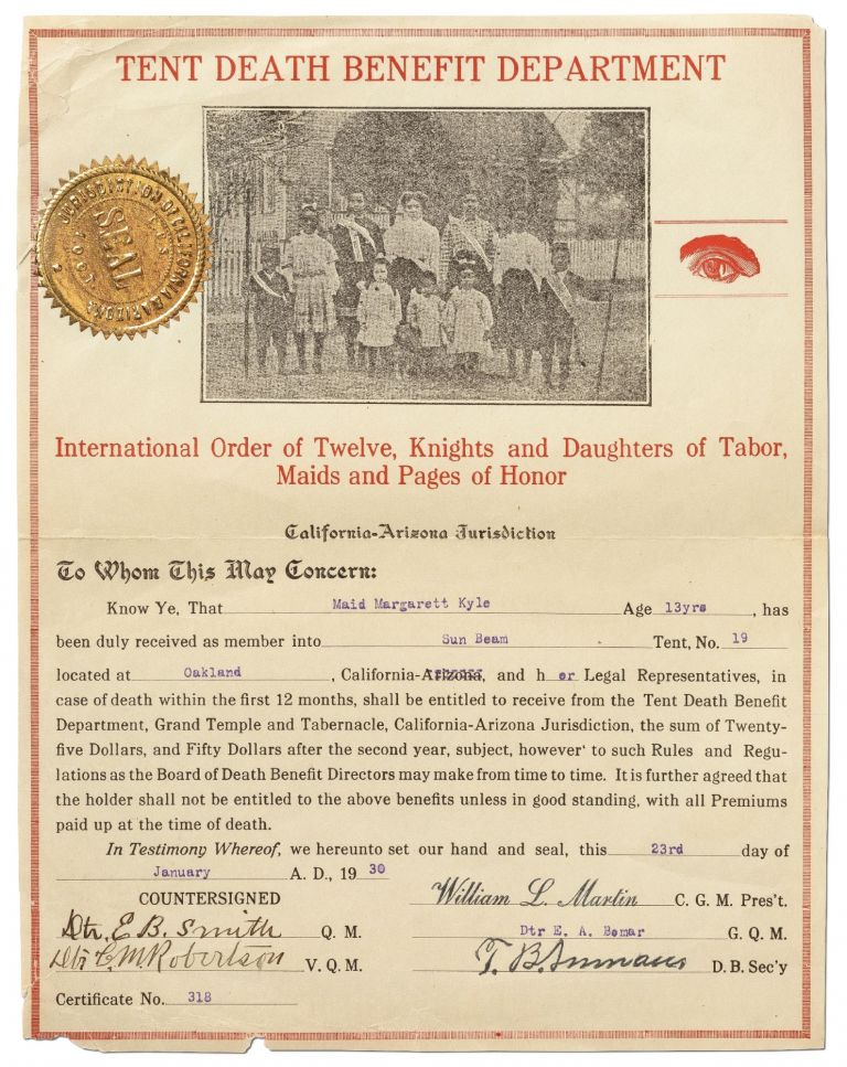 [Partially Printed Document]: Tent Death Benefit Department. International Order of Twelve, Knights and Daughters of Tabor, Maids and Pages of Honor. California-Arizona Jurisdiction. 1930