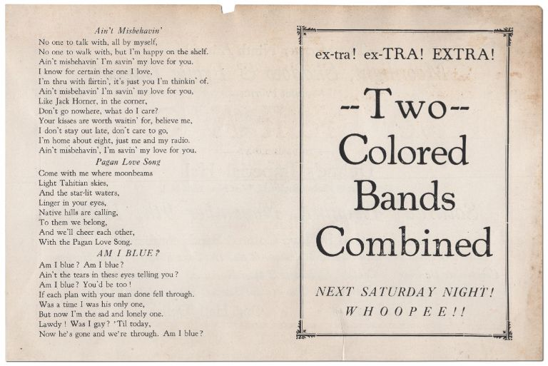 [Handbill]: ex-tra! ex-TRA! EXTRA! Two Colored Bands Combined. Next Saturday Night! WHOOPEE!! [verso]: The Monster Ninth Annual Moonlight , Shadow & Frolic Dance... Music furnished by Two Colored Bands Combined! Jackson's Original Monarch Colored Melodians & Red Hot Jazz Kings—Pride of Harlem