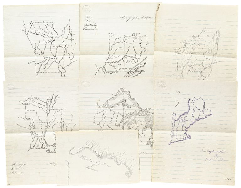 Maps of American States Drawn by a Teenage Girl from New Jersey, circa 1875. Josephine A. BROWN.