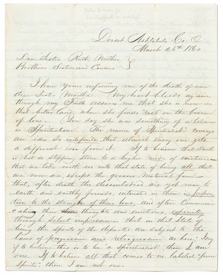 Autograph Letter Signed to his Mother, Siblings, and Cousins, about the Death of his Sister Martha. John BROWN Jr.
