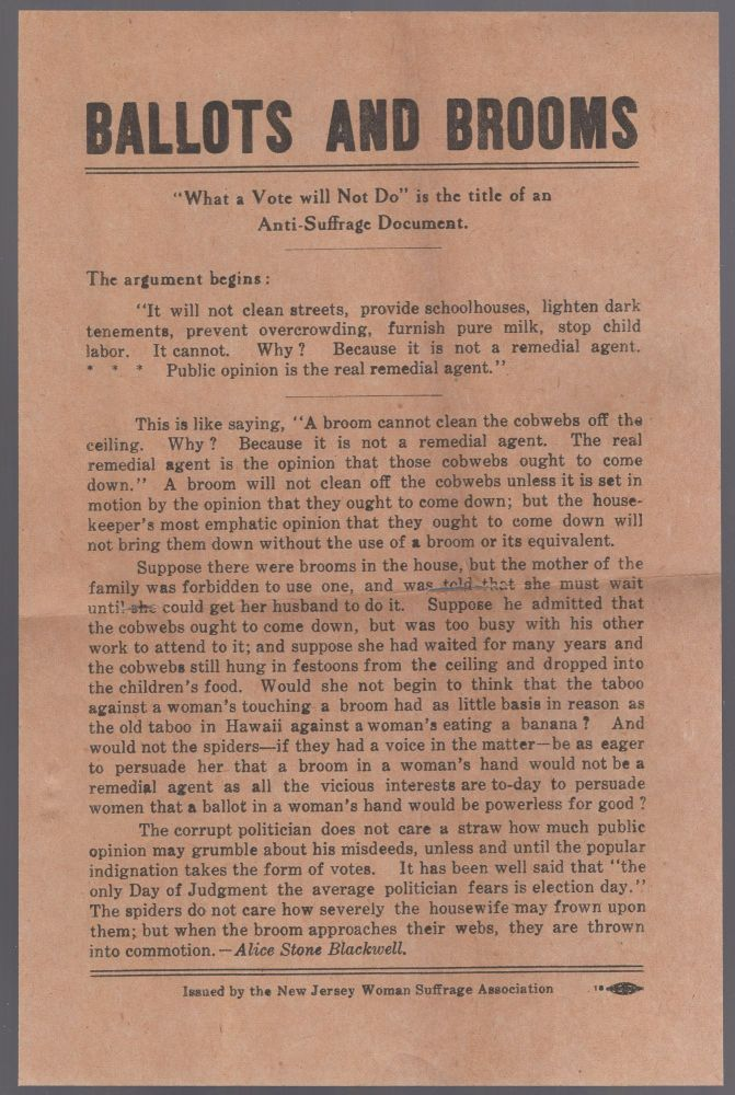 """[Broadside]: """"Ballots and Brooms"""" Alice Stone BLACKWELL."""