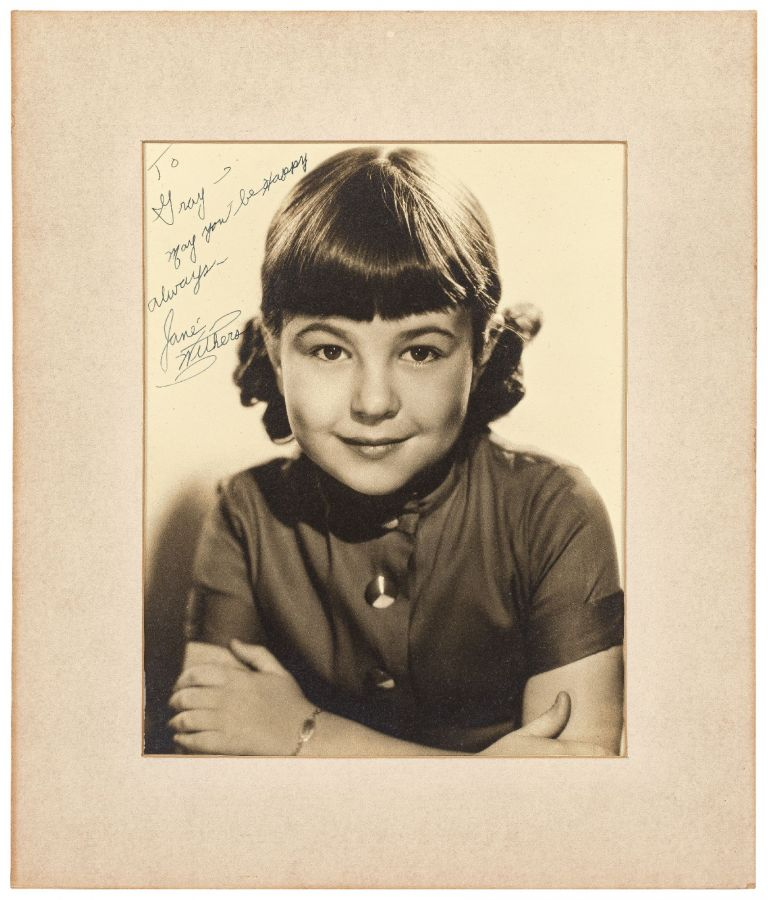 Photograph Inscribed by Child Actress Jane Withers to Gray Delmar. Jane WITHERS.