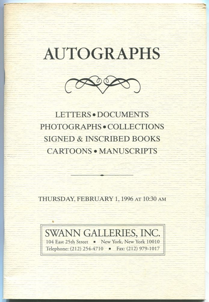 Autographs: Letters, Documents, Photographs, Collections, Signed & Inscribed Books, Cartoons, Manuscripts: Public Auction Sale 1714, February 1, 1996