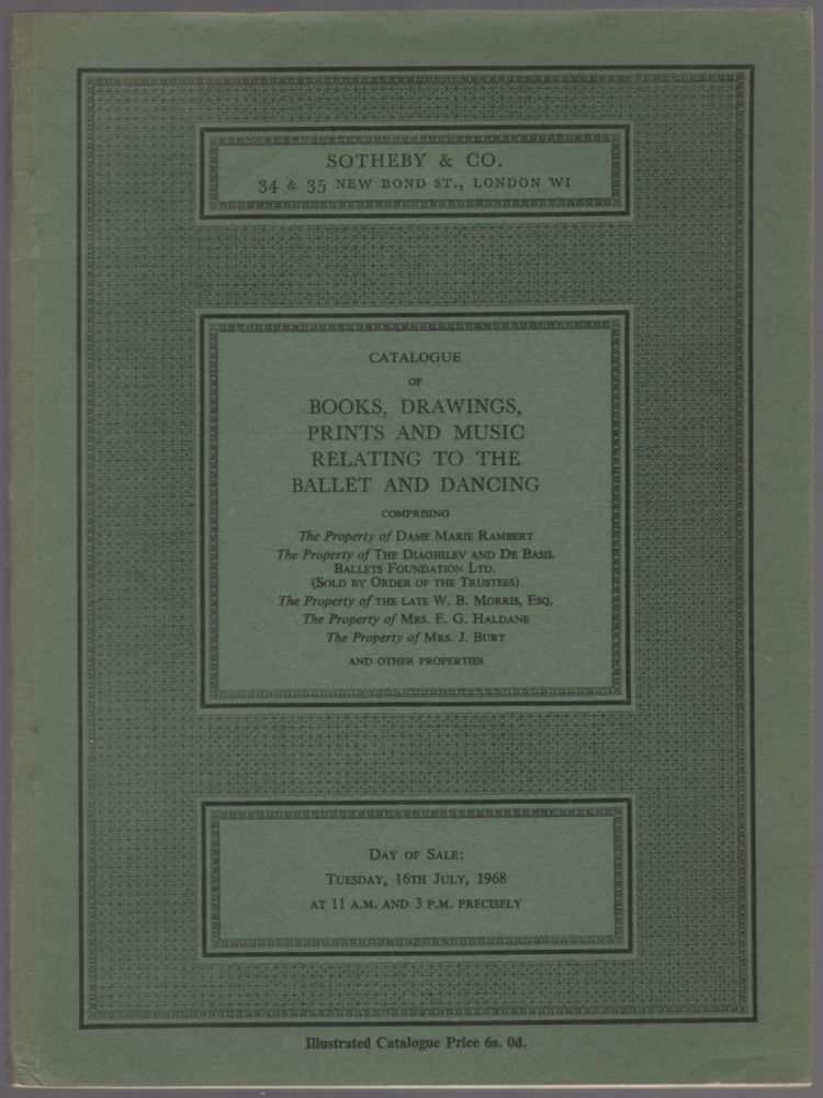Catalogue of Books, Drawings, Prints and Music Relating to the Ballet and Dancing