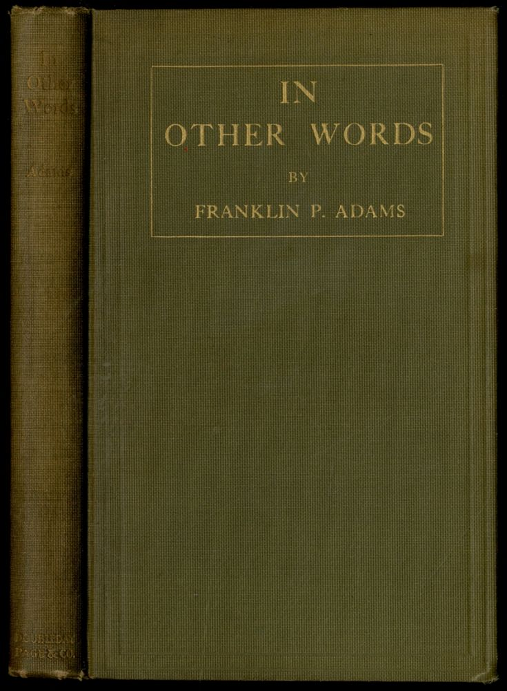 In Other Words. Franklin P. ADAMS.