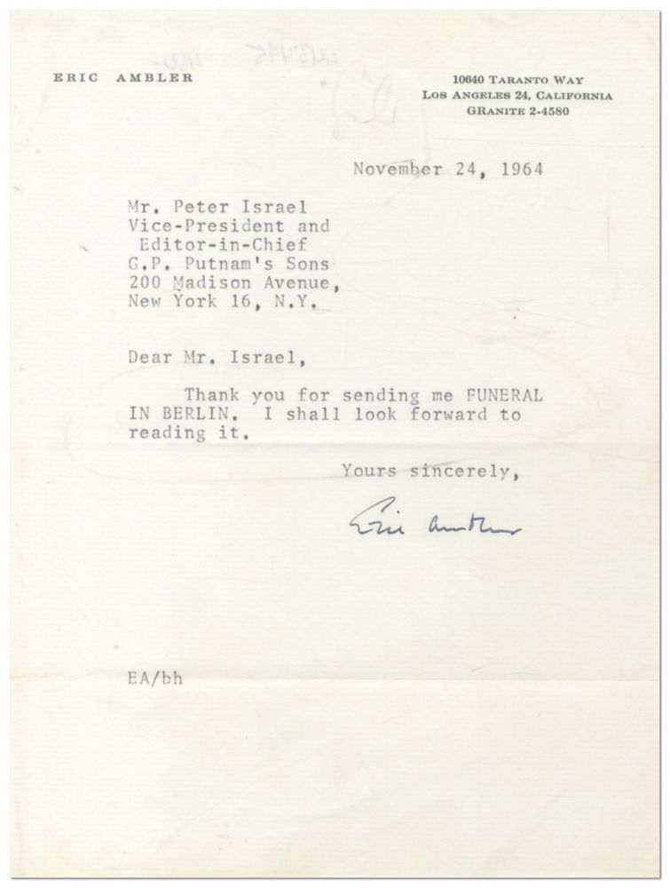 Typed Note Signed. Eric AMBLER.