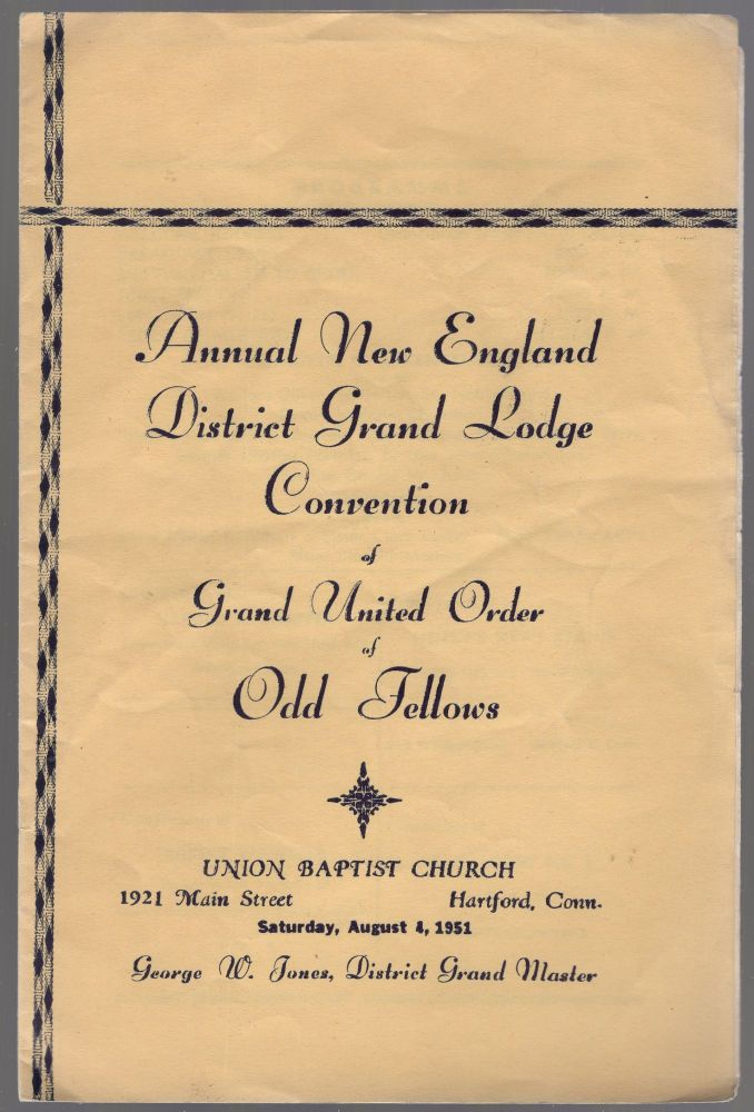 (Program): Annual New England District Grand Lodge Convention of Grand United Order of Odd Fellows
