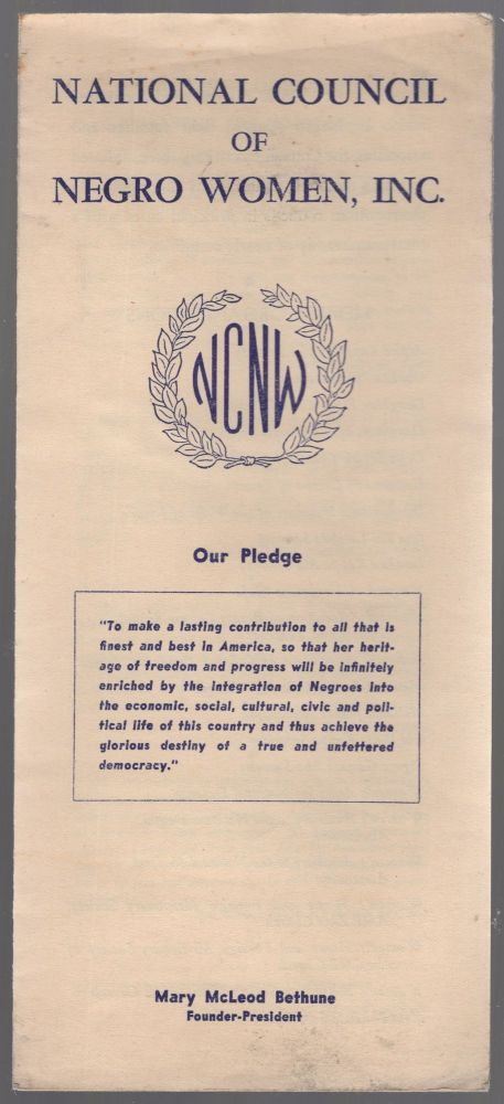 (Pamphlet): National Council of Negro Women, Inc. ... Mary McLeod Bethune, Founder-President