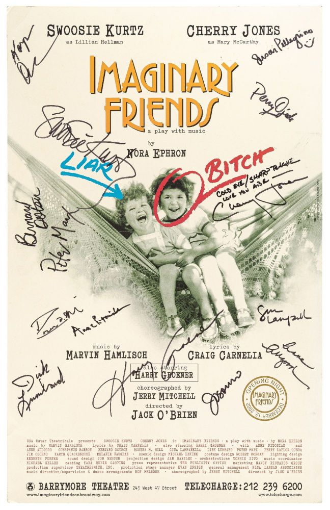 (Theatrical Poster): Imaginary Friends: A Play with Music by Nora Ephron. Swoosie Kurtz as Lillian Hellman. Cherry Jones as Mary McCarthy. Nora EPHRON, Lillian Hellman, Mary McCarthy.