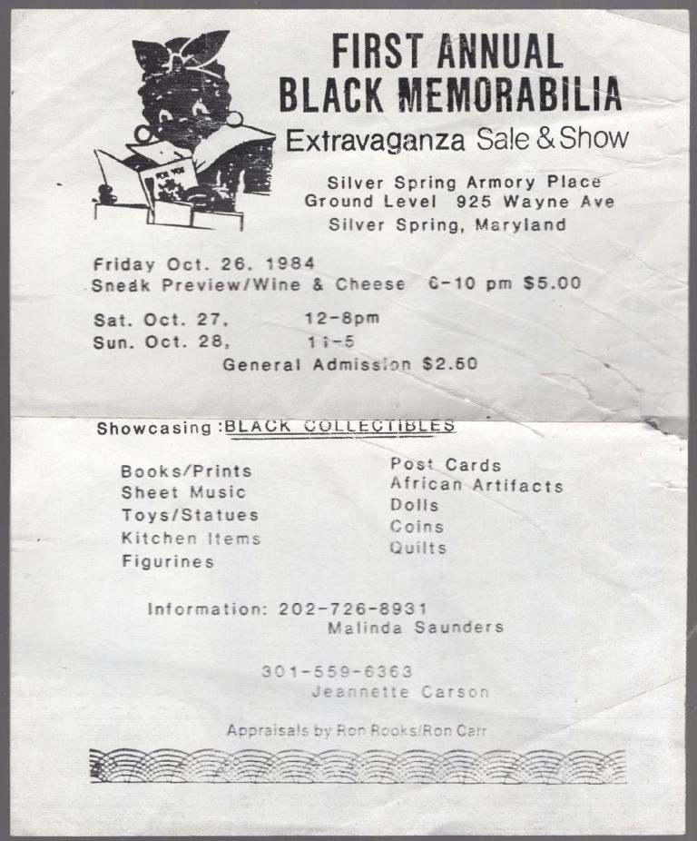 (Flyer): First Annual Black Memorabilia Extravaganza Sale & Show. Silver Spring Armory Place