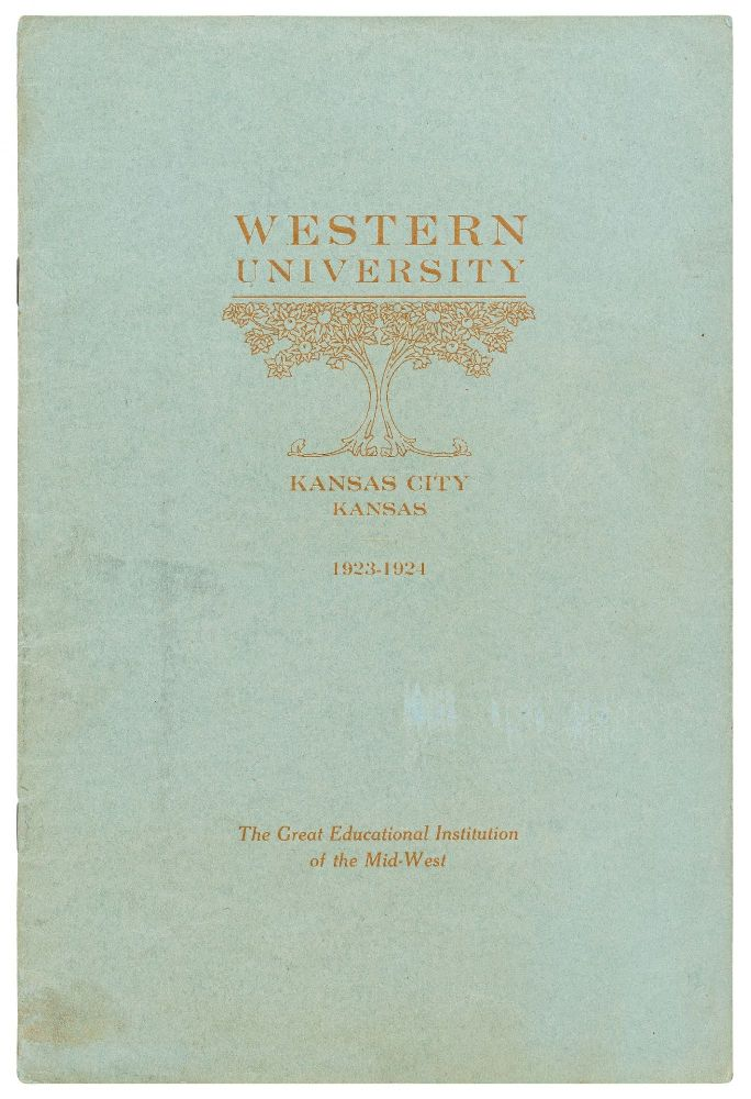 Western University. Kansas City, Kansas 1923-1924. The Great Educational Institution of the Mid-West