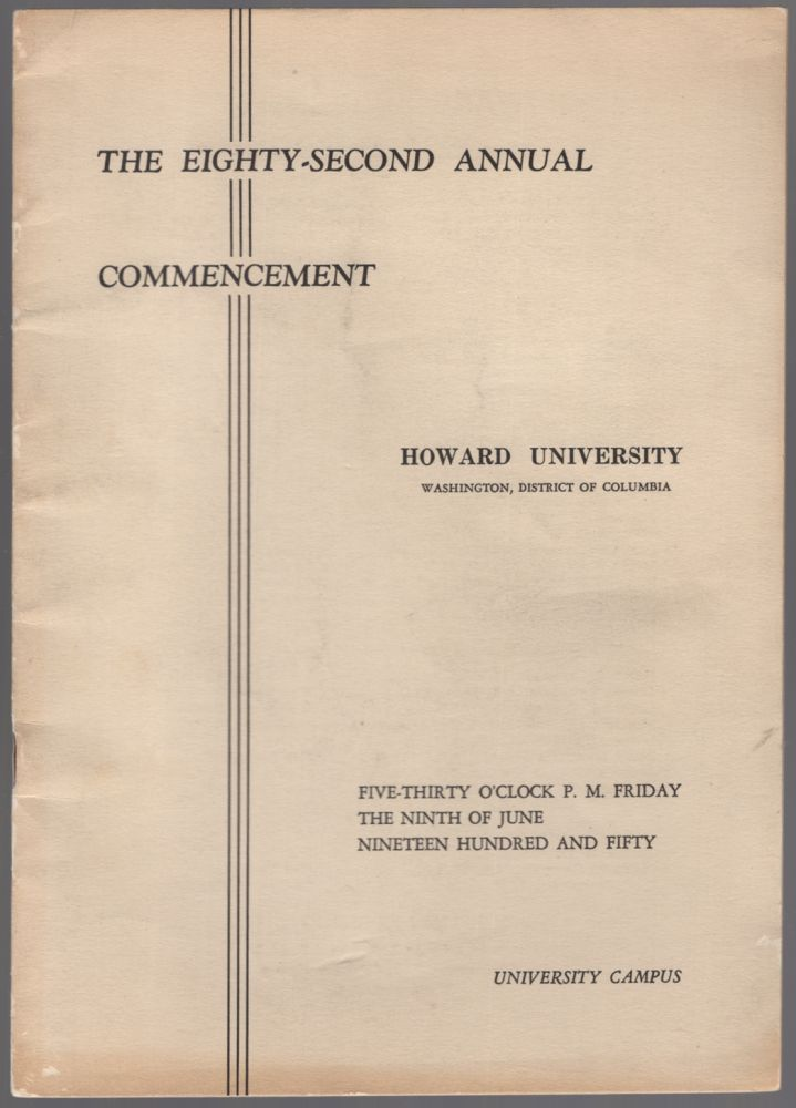 (Program): The Eighty-Second Commencement Howard University. 1950