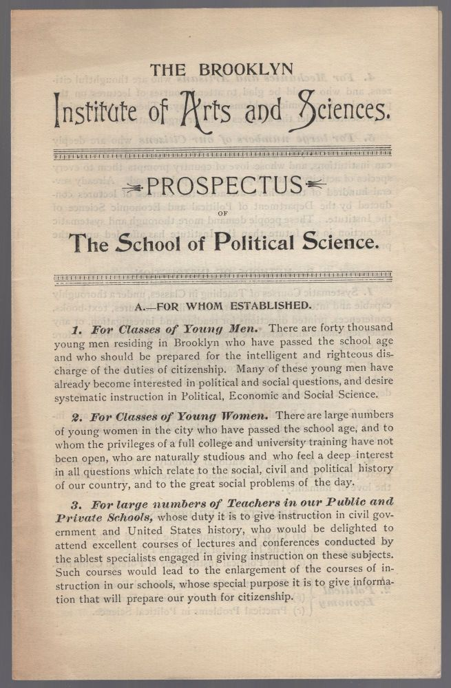 Prospectus of the School of Political Science