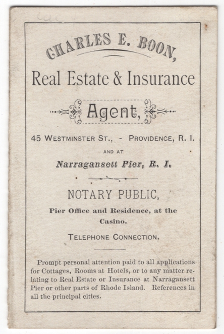 [Caption title]: Cottage Directory of Narragansett Pier for 1884. Arranged July 1st, by C.E. Boon, Real Estate Agent