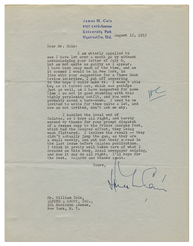 Typed Letter Signed. James M. CAIN.