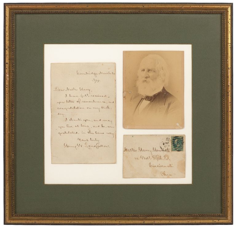 """Autograph Letter Signed (""""Henry W. Longfellow"""") to a young man acknowledging birthday wishes. Henry Wadsworth LONGFELLOW."""