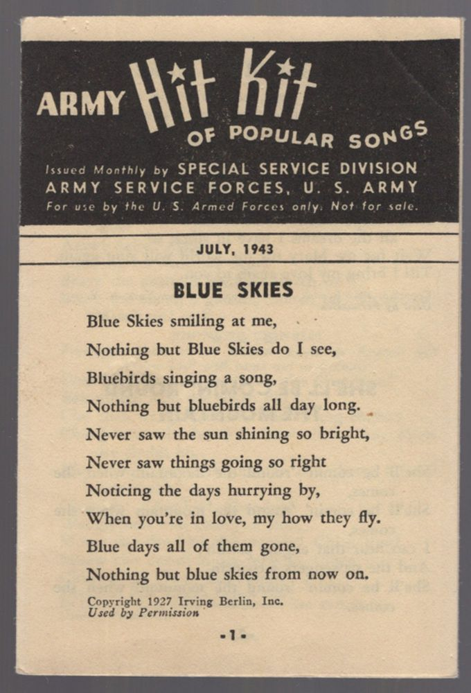 Army Hit Kit of Popular Songs. July, 1943