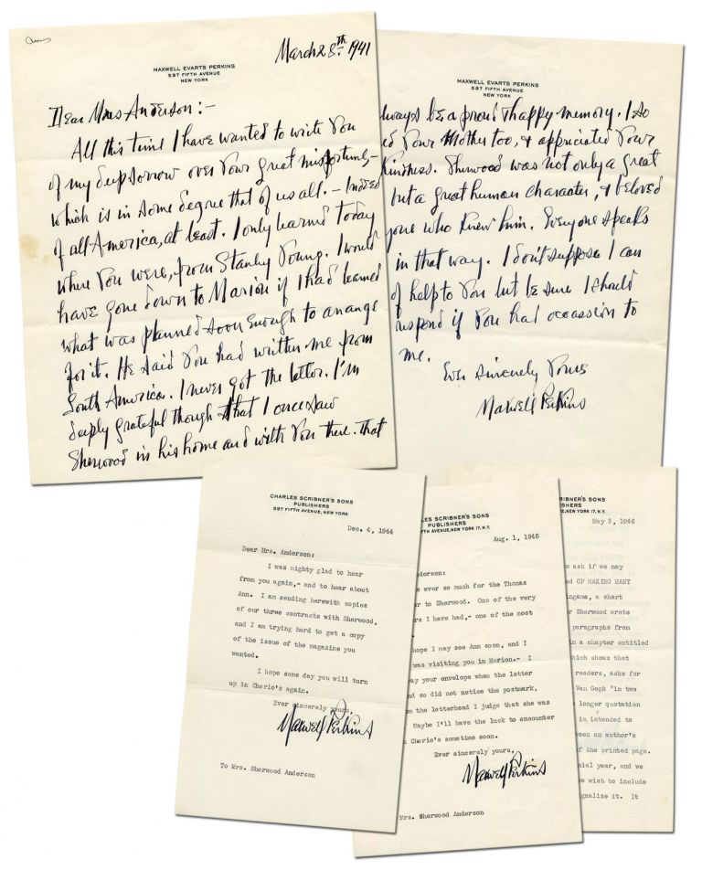 Four Letters from Maxwell Perkins to Sherwood Anderson's Widow. Maxwell E. PERKINS.
