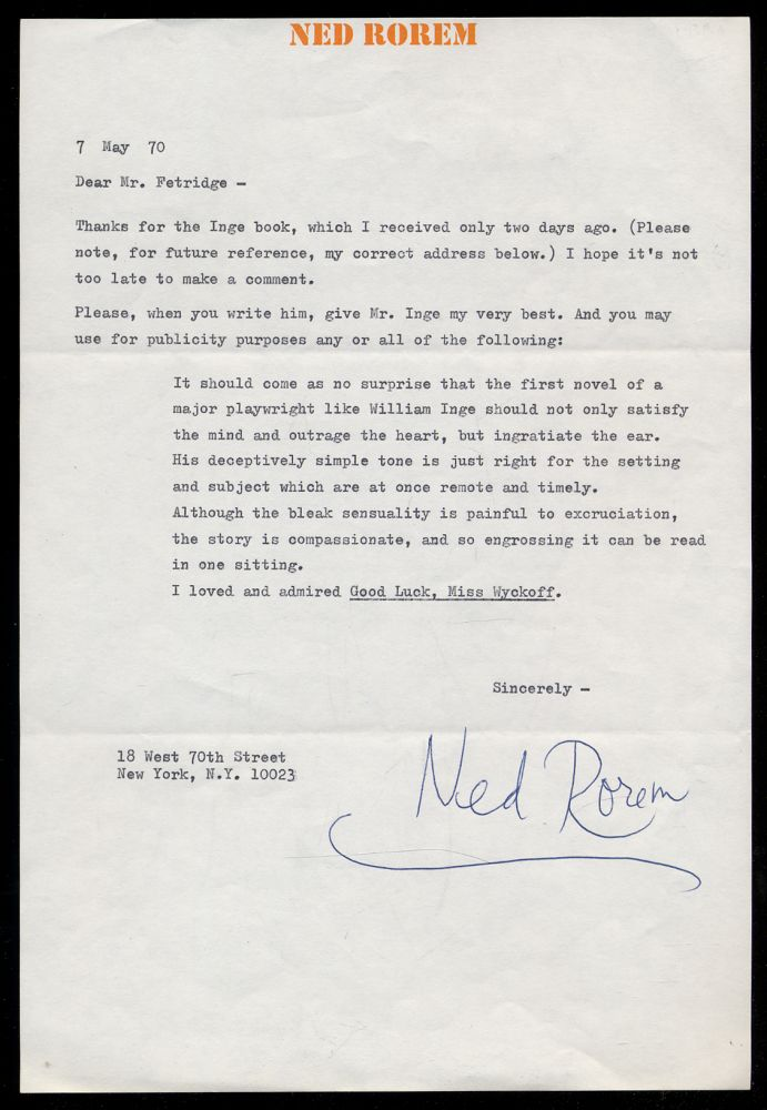 Typed Letter Signed. Ned ROREM.