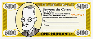 Rare Books Gift Certificate bearing a portrait of James Joyce. Inc Between the Covers Rare Books, Tom Bloom.