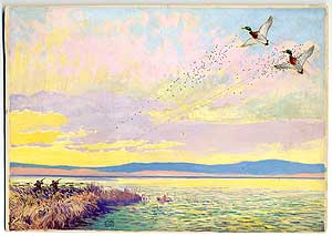 Original Signed Duck-Hunting Painting: Two Hunters Firing on Two Mallards in Flight