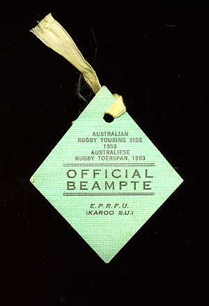 Badge for an official of the Australian Rugby Touring Side in South Africa, 1953