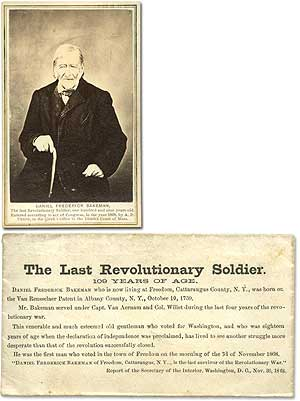 Photograph]: The Last Revolutionary Soldier: One Hundred and Nine Years of Age. Daniel Frederick...