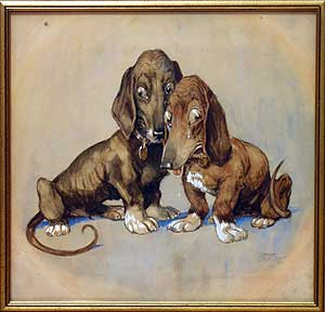 Original Art: Weeping Dachshunds. Tony SARG.