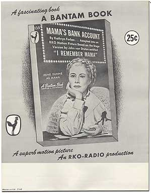 Mama's Bank Account: Original Poster for the Bantam Books Paperback Movie Tie-In Edition. Kathryn FORBES.