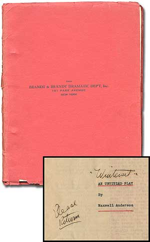"[Playscript]: An Untitled Play (Handwritten in is the eventual title ""Winterset""). Maxwell ANDERSON."