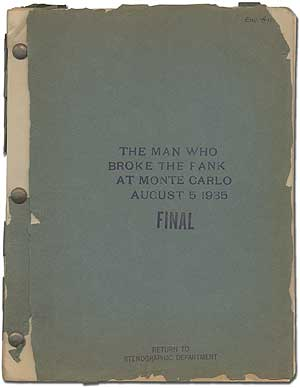 Screenplay]: The Man Who Broke the Bank at Monte Carlo