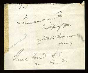 Autograph Signature Clipped from a Letter. Walter BESANT.