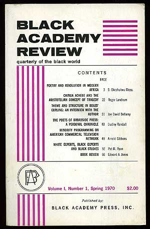 [Magazine]: Black Academy Review: Quarterly of the Black World. Volume 1, Number 1, Spring 1970