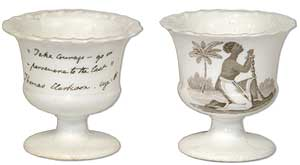 Two Abolitionist Salt Cellars, or Toothpick Holders