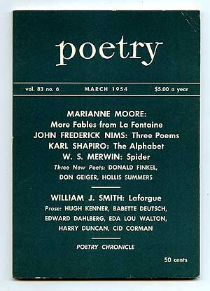 Poetry for March 1954. Cid CORMAN, Marianne Moore, W. S. Merwin, Edward Dahlberg.